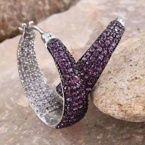 Rhodolite Garnet (Rnd), Natural Cambodian Zircon Hoop Earrings (with Clasp Lock) in Black Rhodium and Platinum Overlay Sterling Silver 3.000 Ct.