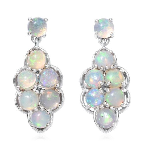Ethiopian Welo Opal (Rnd) Earrings (with Push Back) in Platinum Overlay Sterling Silver 2.380 Ct.