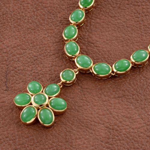 Green Jade (Ovl) Floral Necklace (Size 18) in 14K Gold Overlay Sterling Silver 29.500 Ct.