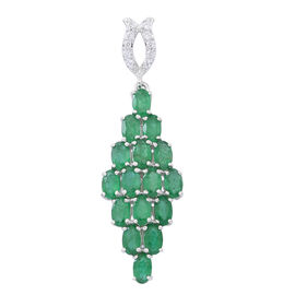 9K W Gold AAA Kagem Zambian Emerald (Ovl), White Zircon Pendant 4.250 Ct.