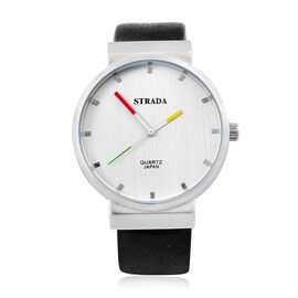 STRADA Japanese Movement Water Resistant Watch in Silver Tone with Stainless Steel Back and Black Colour Strap