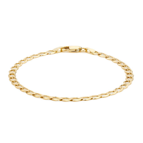 Close Out Deal 9K Yellow Gold Flat Curb Chain Bracelet (Size 7.5)