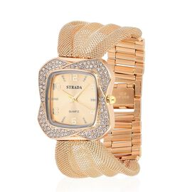 STRADA Japanese Movement Sunshine Pattern Dial with White Austrian Crystal Water Resistant Watch in Gold Tone with Stainless Steel Back