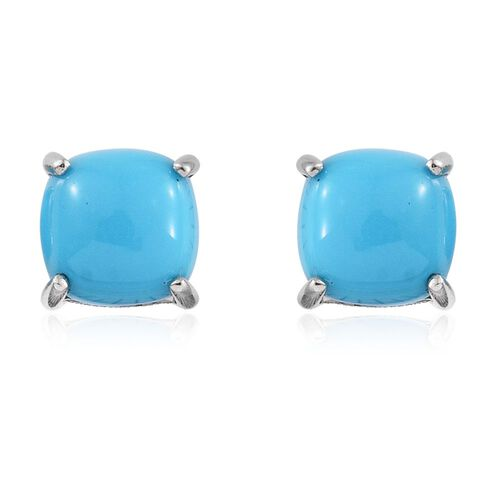 RHAPSODY 950 Platinum AAAA Arizona Sleeping Beauty Turquoise (Cush) Stud Earrings (with Screw Back) 2.000 Ct.