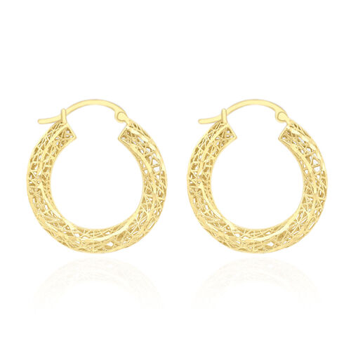 JCK Vegas Collection 9K Yellow Gold Net Hoop Earrings (with Clasp), Gold Wt. 1.60 gms