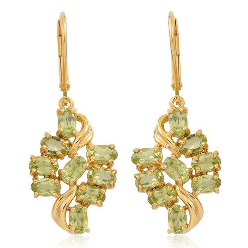 Hebei Peridot (Ovl) Lever Back Earrings in 14K Gold Overlay Sterling Silver 4.000 Ct.