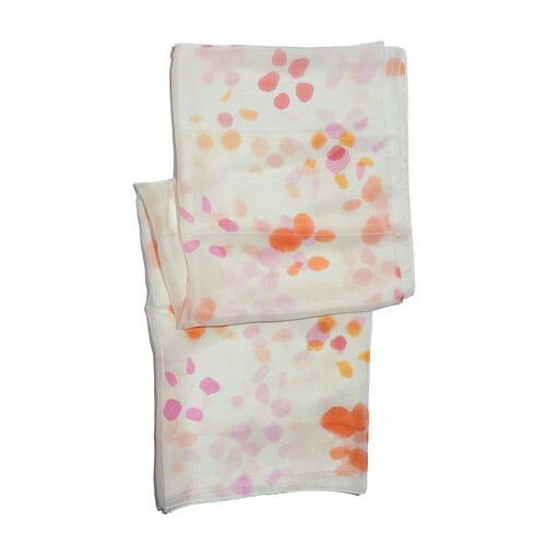 100% Mulberry Silk Off White, Orange and Multi Colour Handscreen Printed Scarf (Size 180x90 Cm)