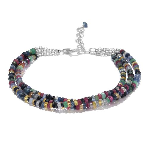 Multi Sapphire (Rnd) Beads Bracelet (Size 7.5 with 1 inch Extender) in Sterling Silver 40.000 Ct.
