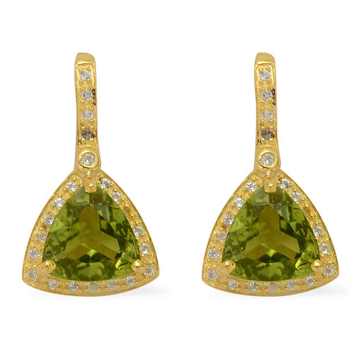 Hebei Peridot (Trl), White Topaz Earrings in 14K Gold Overlay Sterling Silver 5.080 Ct.