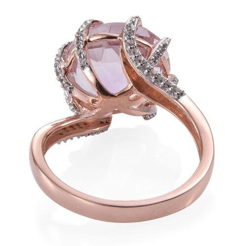 GP Rose De France Amethyst (Rnd 9.10 Ct), Natural Cambodian Zircon and Kanchanaburi Blue Sapphire Ring in Rose Gold Overlay Sterling Silver 9.500 Ct.
