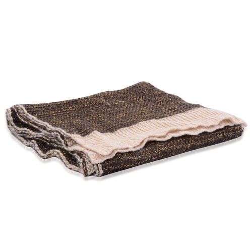 Brown and Beige Colour Winter Knitted Scarf (Size 240x40 Cm)