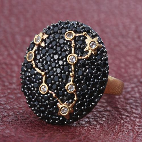 Night Sky Boi Ploi Black Spinel, White Topaz Cluster Silver Ring in 14K Gold Overlay 2.750 Ct.