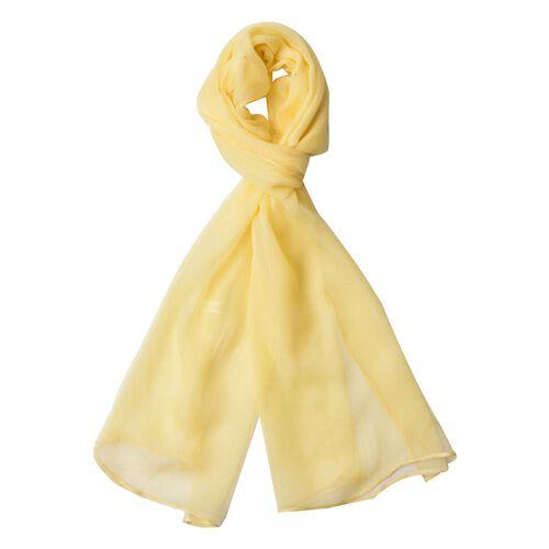 Pantone Collection - 100% Mulberry Silk Primrose Yellow Colour Scarf (Size 170x70Cm)