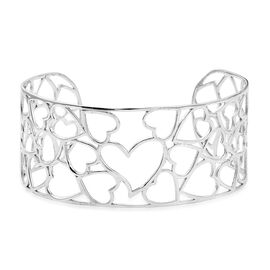 Designer Inspired- Rhodium Plated Sterling Silver Heart Cuff Bangle (Size 7.5), Silver wt 16.30 Gms