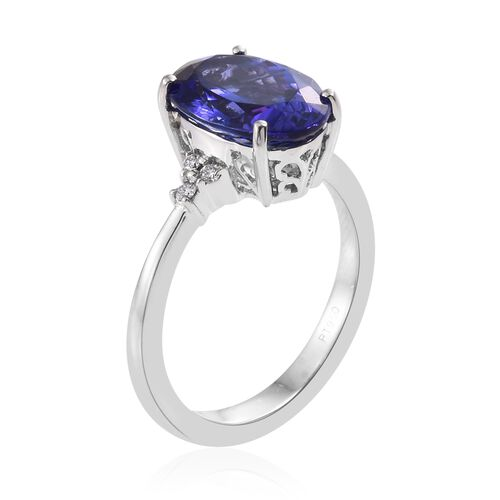 RHAPSODY 950 Platinum 4.55 Ct AAAA Tanzanite Ring with Diamond VS E-F