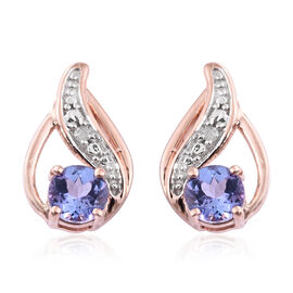 0.76 Ct Tanzanite, Diamond Silver Earrings (with Push Back) in Platinum and Rose Gold Overlay