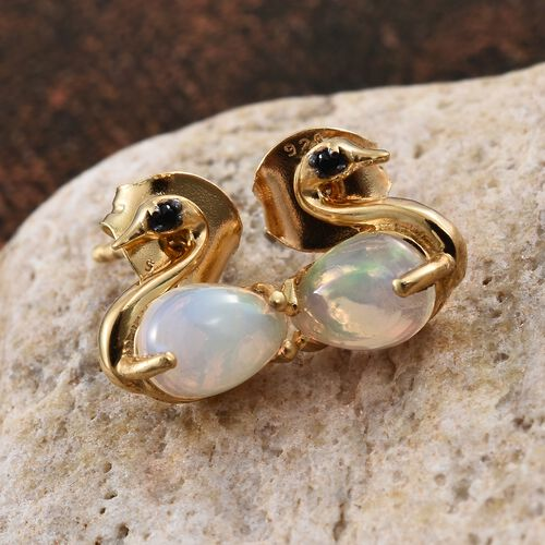 Ethiopian Welo Opal (Pear), Boi Ploi Black Spinel Swan Stud Earrings (with Push Back) in 14K Gold Overlay Sterling Silver 1.000 Ct.