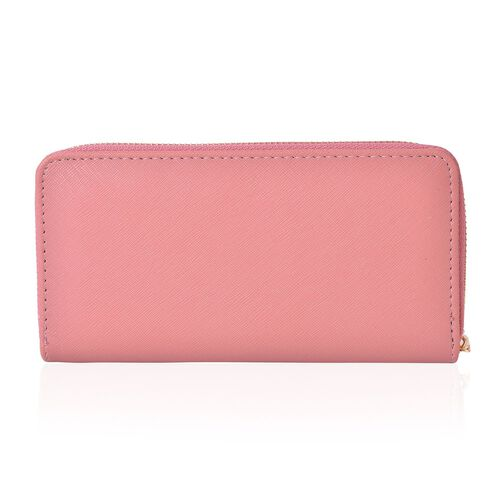 Cutout Design Metal Adorned Pink Colour Ladies Wallet with Multiple Card Slots (Size 19.5X9.5X3 Cm)