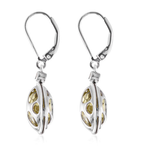 Briolette Cut Natural Green Gold Quartz (Rnd), Natural Cambodian Zircon Lever Back Earrings in Platinum Overlay Sterling Silver 12.250 Ct.