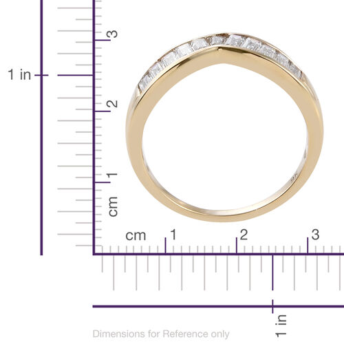 J Francis - 9K Y Gold (Bgt) Wishbone Ring Made with SWAROVSKI ZIRCONIA
