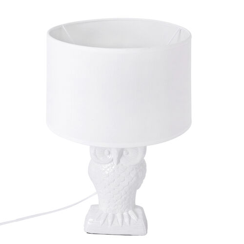 Home Decor - Owl Shape Ceramic Table Lamp White (Size 43x26x13.5 Cm)