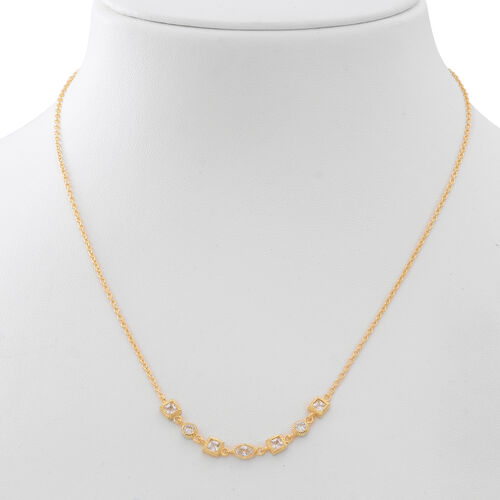 Super Bargain Price-ELANZA AAA Simulated White Diamond Necklace (Size 18) in 14K Gold Overlay Sterling Silver