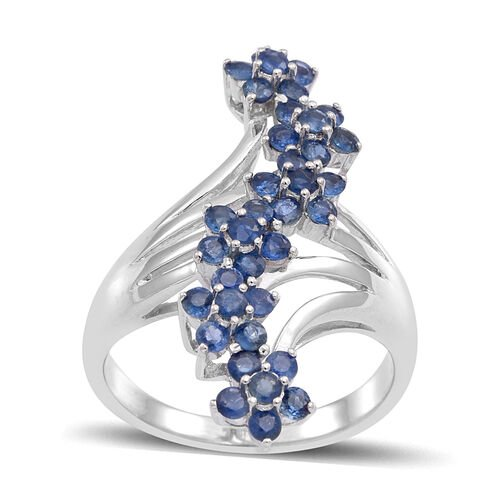 Kanchanaburi Blue Sapphire (Rnd) Floral Crossover Ring in Rhodium Plated Sterling Silver 1.750 Ct.