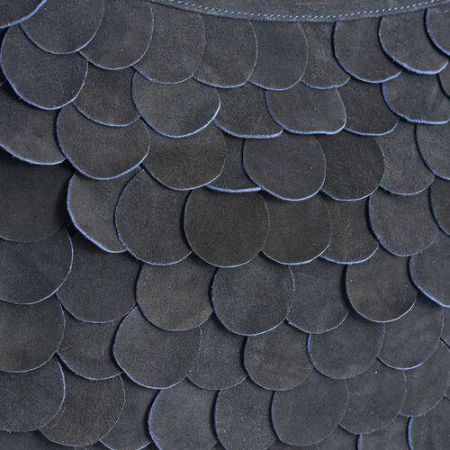 Ava Genuine Leather Navy Scalloped Shoulder Handbag with Adjustable Strap (Size 41x26 Cm)
