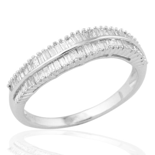 9K W Gold SGL Certified Diamond (Bgt) (I3/ G-H) Half Eternity Ring 0.500 Ct.