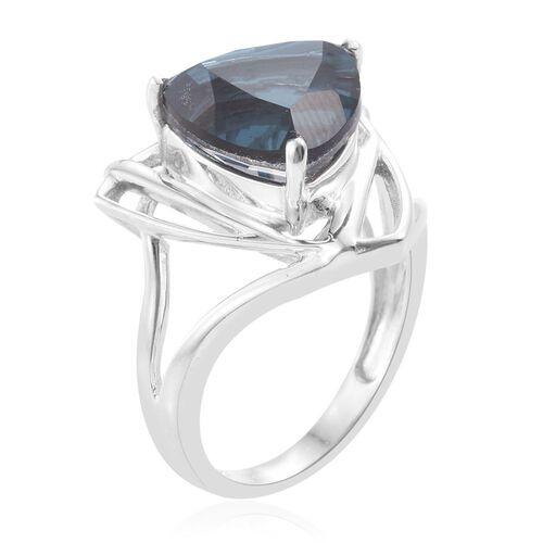 Indicolite Quartz (Trl) Solitaire Ring in Platinum Overlay Sterling Silver 6.500 Ct.