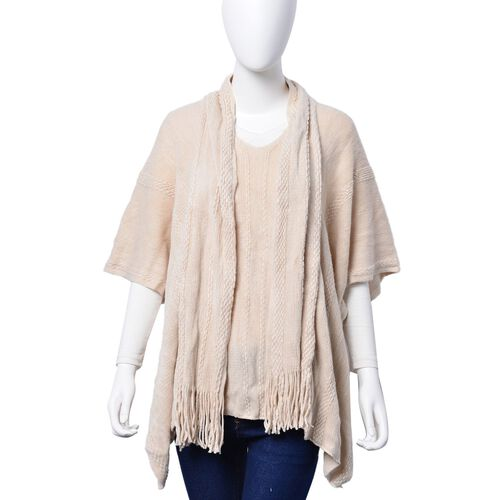 Set of 2 - Cream Colour Poncho (Size 80x70 Cm) and Scarf (Size 145x13 Cm)