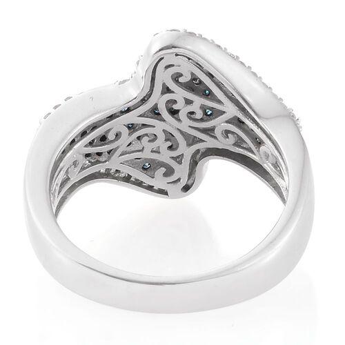 Designer Inspired Blue Diamond (Rnd), White Diamond Ring in Platinum Overlay Sterling Silver 1.000 Ct.