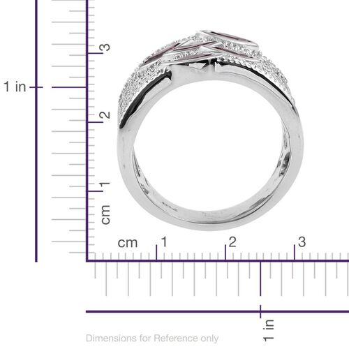 Rhodolite Garnet (Mrq) 5 Stone Ring in ION Plated Platinum Bond 1.500 Ct.