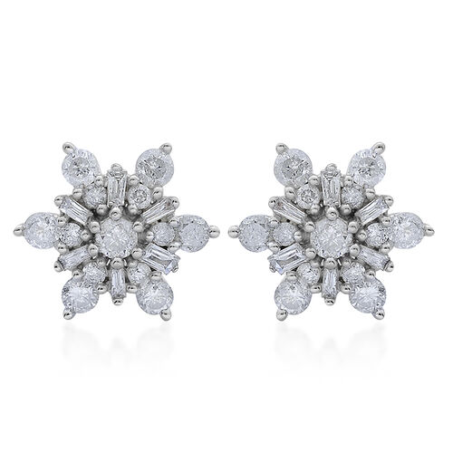 9K White Gold 1 Carat Diamond Snowflake Stud Earrings SGL Certified I3 G-H.