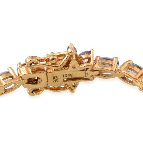 Tanzanite (Ovl), Diamond Tennis Bracelet (Size 7.5) in 14K Gold Overlay Sterling Silver 9.005 Ct.
