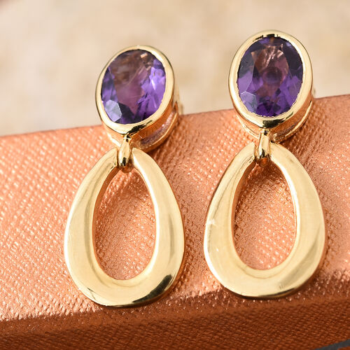 Amethyst 1.50 Ct Sterling Silver Drop Earrings (with Push Back) in 14K Gold Overlay