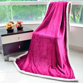 Supersoft Dark Pink and White Colour Microfiber Flannel Blanket with Sherpa Border (Size 200X150 Cm)
