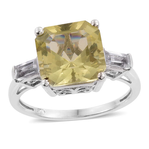 Asscher Cut Natural Green Gold Quartz (Sqr 6.00 Ct), White Topaz Ring in Platinum Overlay Sterling Silver 6.500 Ct. Silver wt 3.56 Gms.