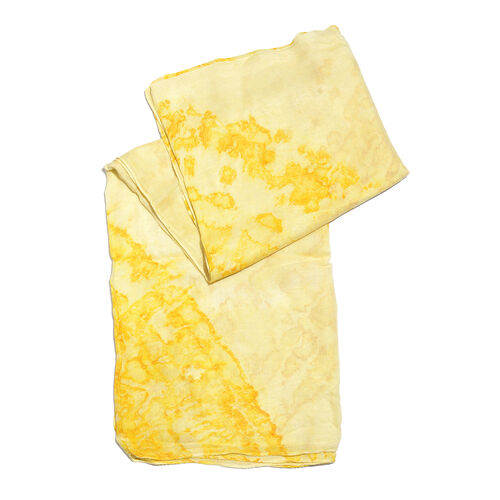 Ombre Printed White and Yellow Colour Scarf (Size 180x100 Cm)