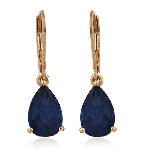 Checkerboard Cut Ceylon Colour Quartz (Pear) Lever Back Earrings in 14K Gold Overlay Sterling Silver 7.250 Ct.