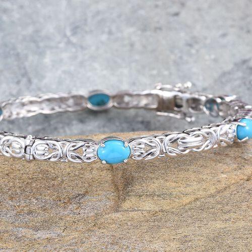 Arizona Sleeping Beauty Turquoise (Ovl) Bangle (Size 7.5) in Platinum Overlay Sterling Silver 5.000 Ct.