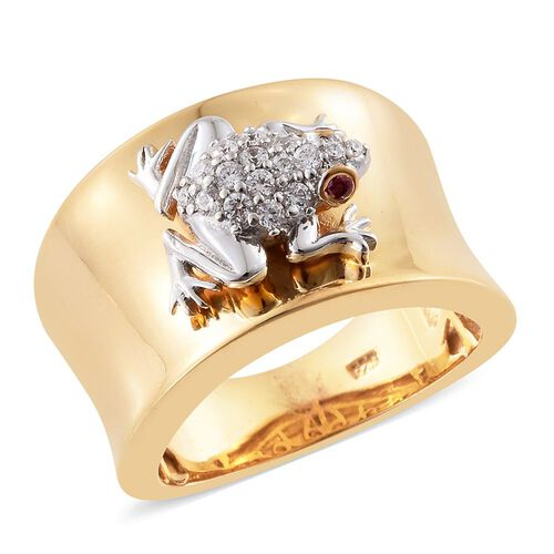 J Francis - Platinum and Yellow Gold Overlay Sterling Silver (Rnd) Frog Ring Made with Red and White SWAROVSKI ZIRCONIA