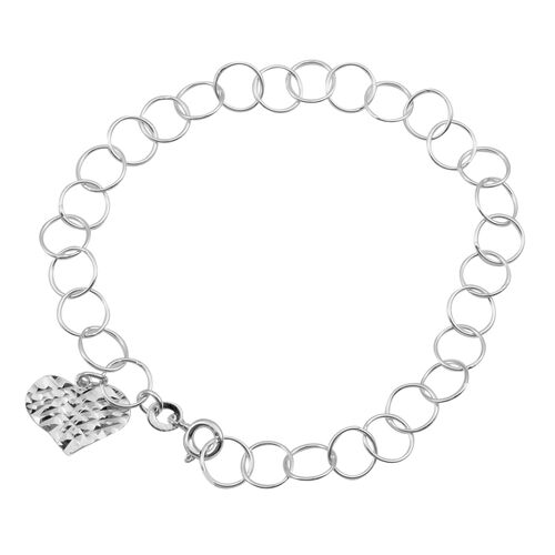 JCK Vegas Collection Sterling Silver Round Link Bracelet (Size 7) with Heart Charm