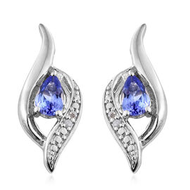 0.85 Ct Tanzanite, Diamond Silver Earrings (with Push Back) in Platinum Overlay