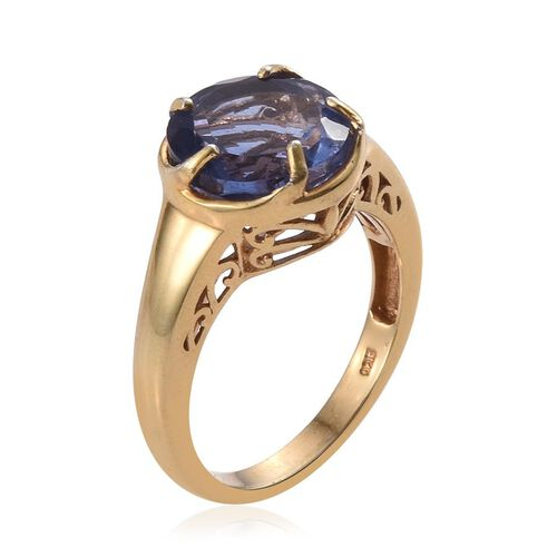 Colour Change Fluorite (Rnd) Solitaire Ring in 14K Gold Overlay Sterling Silver 6.500 Ct.