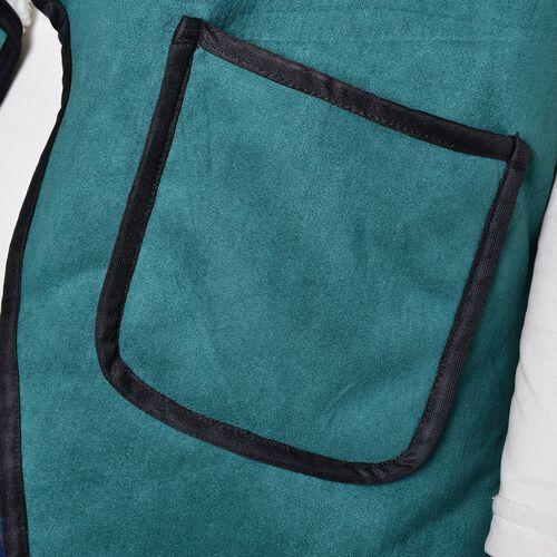 New Season - Green Colour Drape Collar Sherpa Style Gilet (Size 80X50 Cm) with Pockets (Size 14X12 Cm)
