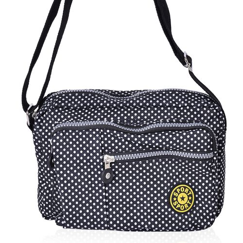 Black and White Colour Polka Dots Pattern Multi Pocket Waterproof Sport Bag with Adjustable Shoulder Strap (Size 22.5X17.5X6 Cm)