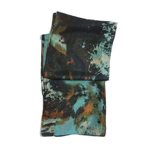 100% Mulberry Silk Green, Chocolate and Multi Colour Printed Pareo (Size 180x100 Cm)