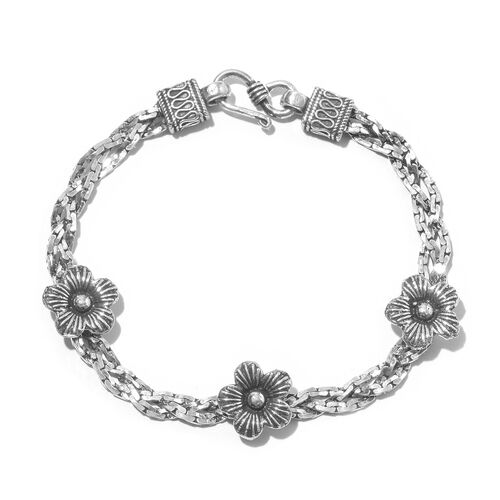 Designer Inspired- Vicenza  Collection Sterling Silver Floral Bracelet (Size 7.5), Silver wt. 15.01 Gms.