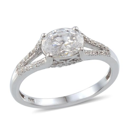 J Francis - Platinum Overlay Sterling Silver (Ovl) Ring Made with SWAROVSKI ZIRCONIA 1.482 Ct.